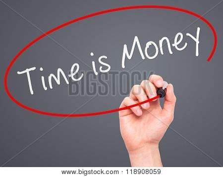 Man Hand Writing Time Is Money With Marker On Transparent Wipe Board