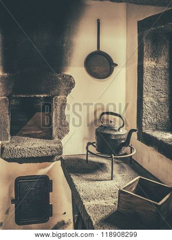 Old kettle and old stove