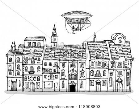 Old Buildings Hand Drawn