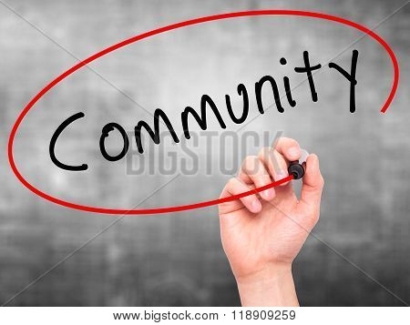 Man Hand Writing Community With Marker On Transparent Wipe Board