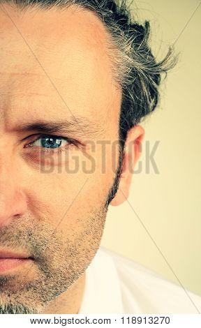 Close up shot of an emotional face of a man