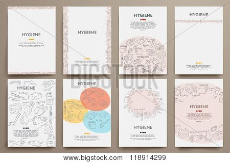 Corporate identity vector templates set with doodles hygiene theme