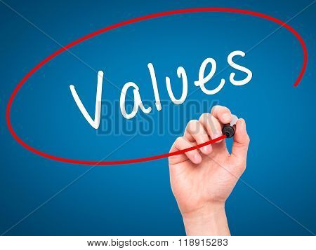 Man Hand Writing Values With Black Marker On Visual Screen