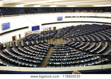 France, Session In An Europarliament Building In Strasbourg