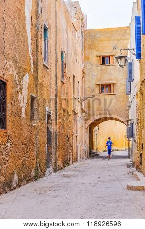 EL JADIDA, MOROCCO, APRIL 5, 2015: alley in a historic city on the Atlantic coast of Morocco, in the province of El Jadida.