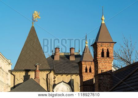 Moscow, roof of Romanov Chambers in Varvarka street, Russia. Sight
