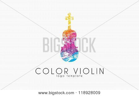 colorful violin logo. music logo. violin in grunge style. creative logo