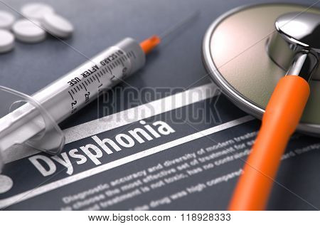 Dysphonia - Printed Diagnosis on Grey Background.