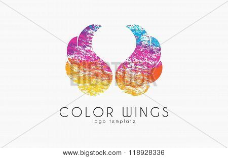 color wings logo. wings in grunge style. creative logo