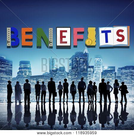 Benefits Advantage Assets Bonus Wages Concept