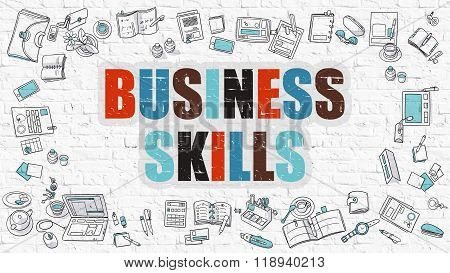 Business Skills in Multicolor. Doodle Design.