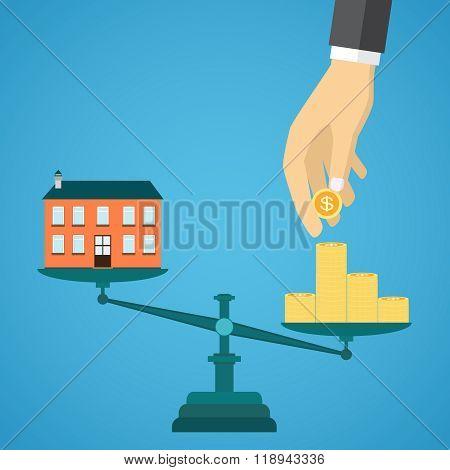Flat real estate sale concept.