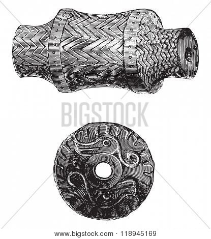 Antiques of the Amazon, Stone Age, Crankshaft and peson terracotta, vintage engraved illustration. Magasin Pittoresque 1878.