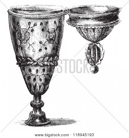 Mr Maxime du Camp Collection, Cup-stamp money, vintage engraved illustration. Magasin Pittoresque 1880.
