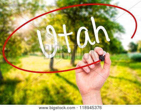 Man Hand Writing Utah With Black Marker On Visual Screen