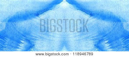 Watercolor Blue Monotype Print Water Texture Background