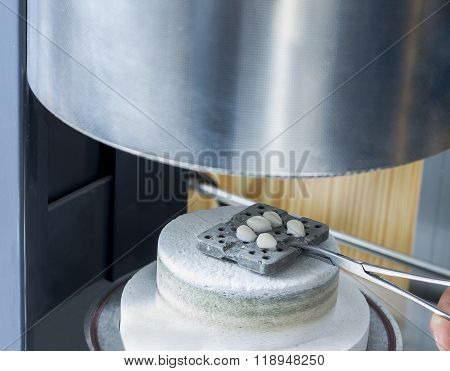 Teeth Of Ceramics In A Furnace To Bake..