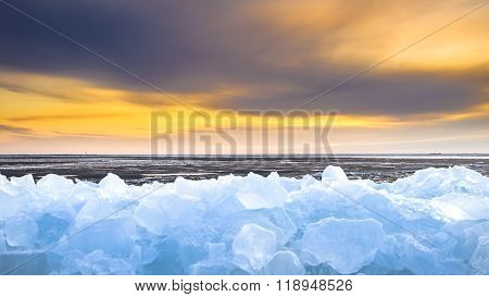 Pieces Of Drifting Ice At Sunset, Ijsselmeer, Netherlands
