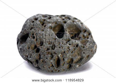 Black strange rock isolated on white