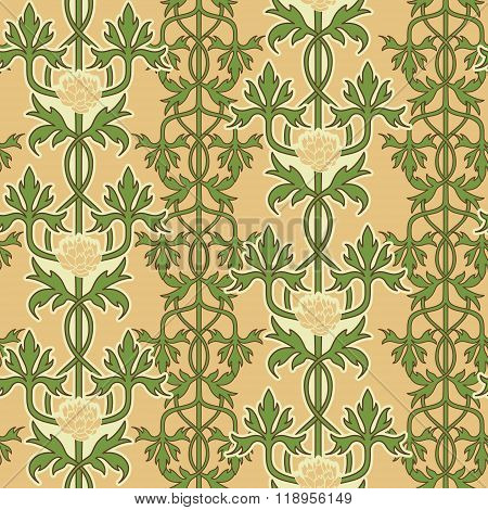 Vintage seamless pattern, art nouveau ornament. Vector illustration.