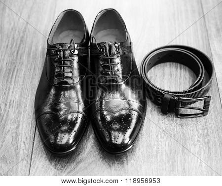 Black And White Picture Of Male Stylish Accessories For Solemn Events