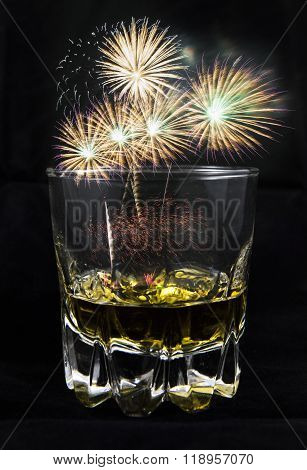 a firework in the glass