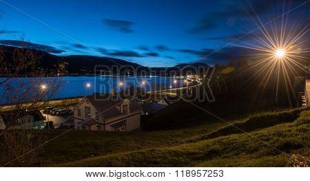 Night Cityscape Of Egilsstadir City,east Of Iceland With Lensflare