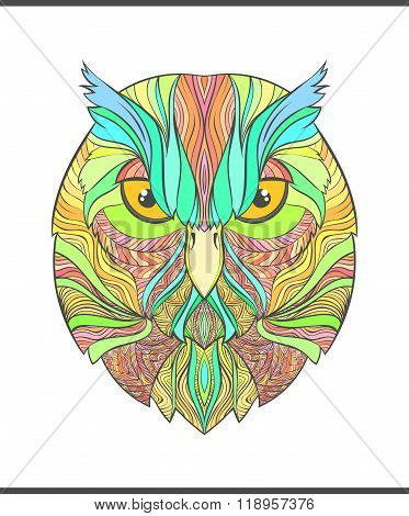 Bright, colorful print with the sketch owl. Modern bird
