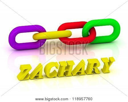 Zachary- Name And Family Of Bright Yellow Letters And Chain