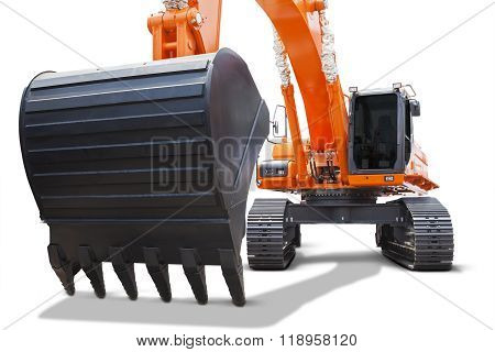 Heavy Scoop Of Orange Excavator