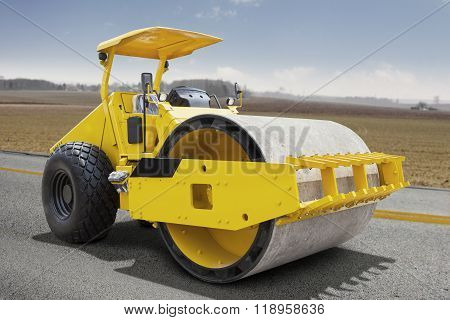 Roller Compactor Machine On The Road