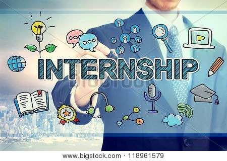 Businessman Drawing Intership Concept
