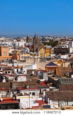 Panorama of Sevilla Spain - view from cathedral belltower
