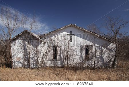 Closeup of an Old Church in Rural Oklahoma