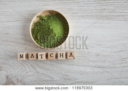 Matcha Tea Powder In Wooden Box Lettering
