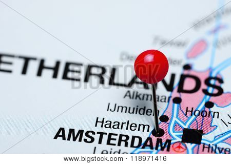 Haarlem pinned on a map of Netherlands