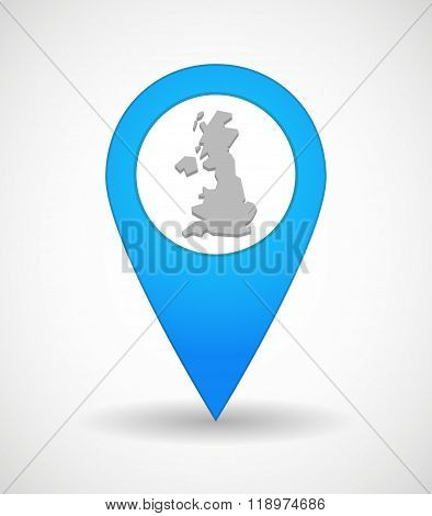 Map Mark Icon With  A Map Of The Uk