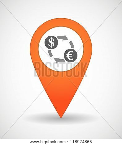Map Mark Icon With A Dollar Euro Exchange Sign