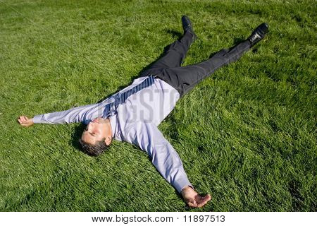 Businessman lying on green grass to relax