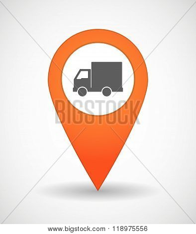 Map Mark Icon With A  Delivery Truck
