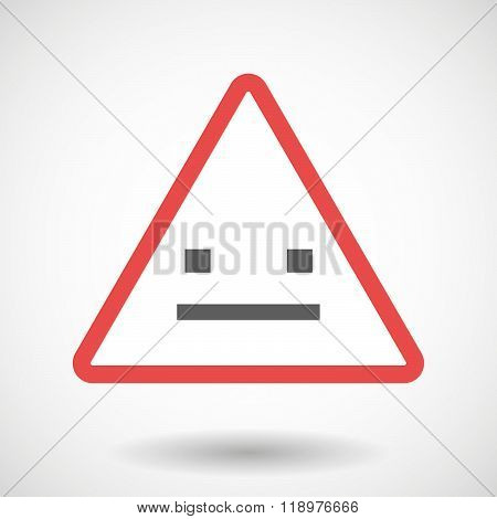 Warning Signal Icon With A Emotionless Text Face