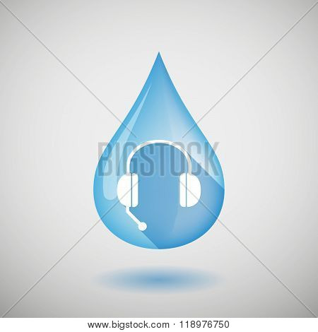 Long Shadow Water Drop Icon With  A Hands Free Phone Device