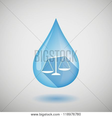 Long Shadow Water Drop Icon With  An Unbalanced Weight Scale