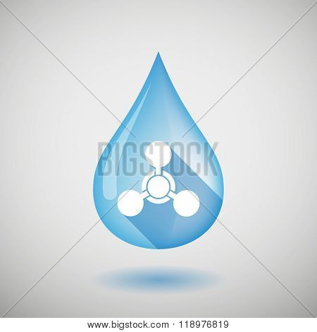 Long Shadow Water Drop Icon With A Chemical Weapon Sign