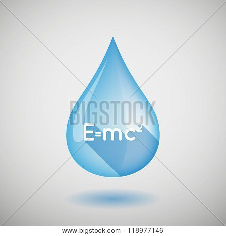 Long Shadow Water Drop Icon With The Theory Of Relativity Formula