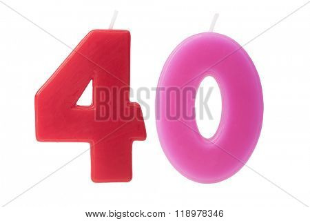 Colorful birthday candles in the form of the number 40 on white background