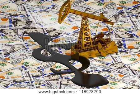 Golden Pumpjack And Spilled Oil On The Money.