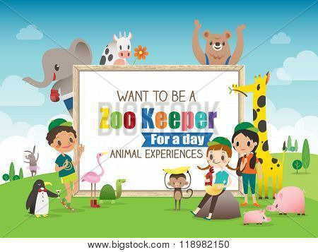 Zoo Keeper For A Day Children And Animals Cartoon Frame Illustration