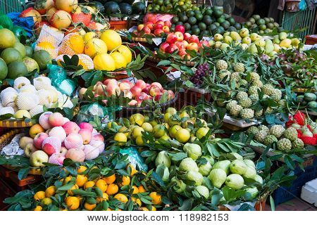 Tropical fruit in a small market in Hanoi, Vietnam