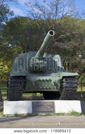 Self-propelled artillery installation ISU-153. Memorial monument in Priozersk, Leningrad region